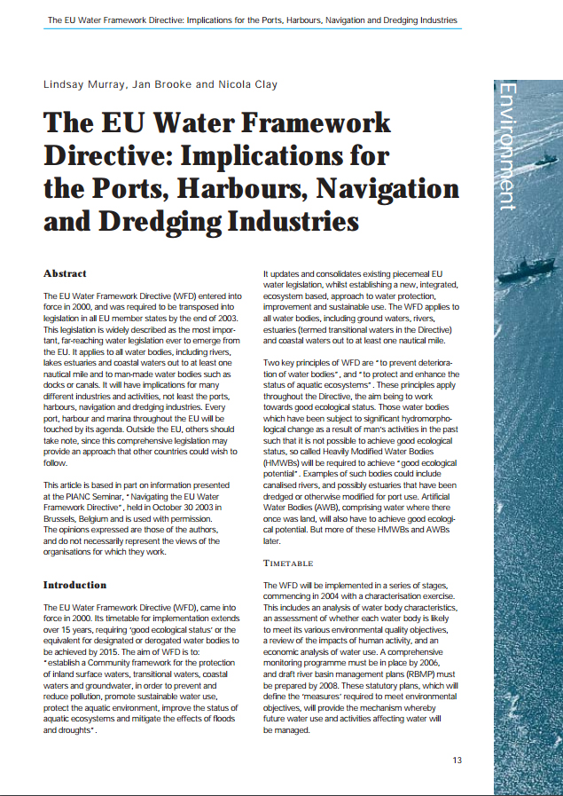 The EU Water Framework Directive: Implications of the Ports, Harbours, Navigation and Dredging Indus