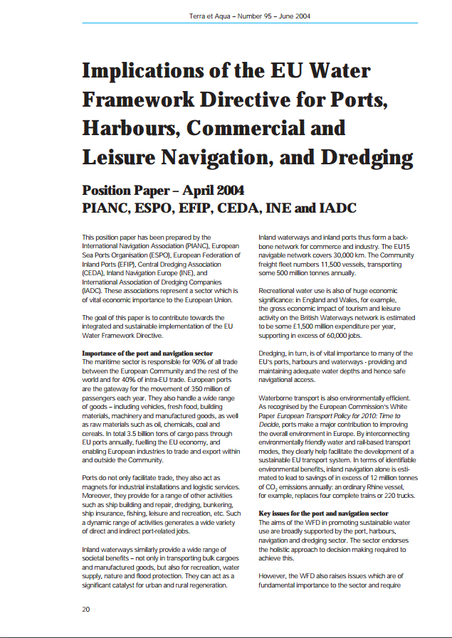 Implications of the EU Water Framework Directive for Ports, Harbours, Commercial and Leisure Navigat