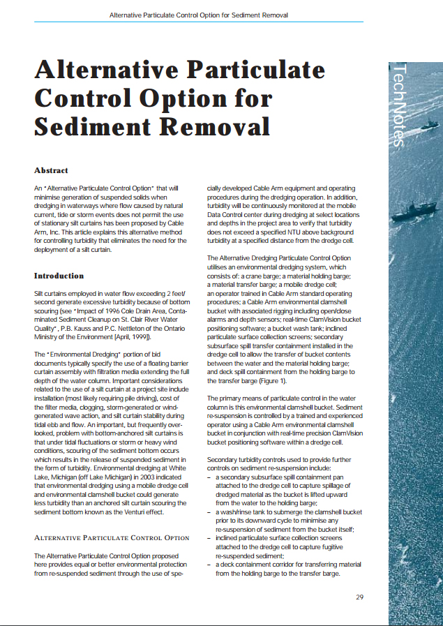 TechNotes: Alternative Particulate Control Option for Sediment Removal