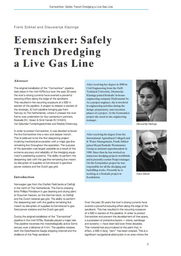 Eemszinker: Safely Trench Dredging a Live Gas Line