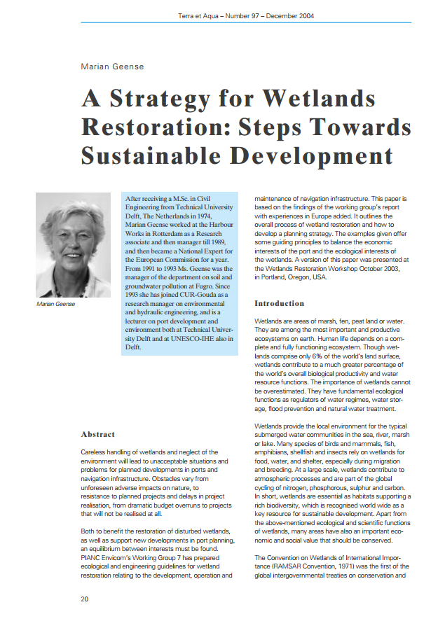 A Strategy for Wetlands Restoration: Steps Towards Sustainable Development