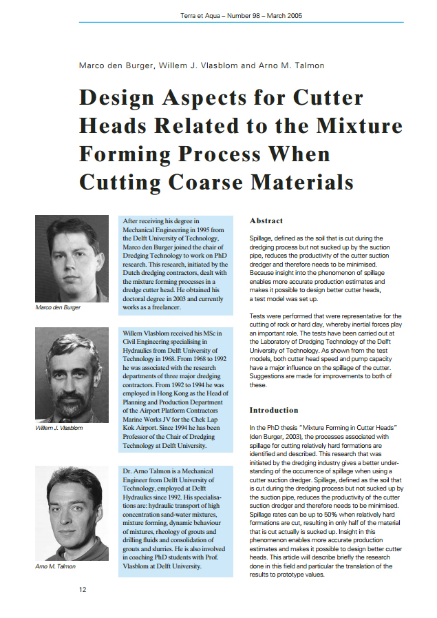 Design Aspects for Cutter Heads Related to the Mixture Forming Process When Cutting Coarse Materials