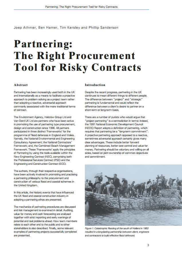 Partnering: The Right Procurement Tool for Risky Contracts