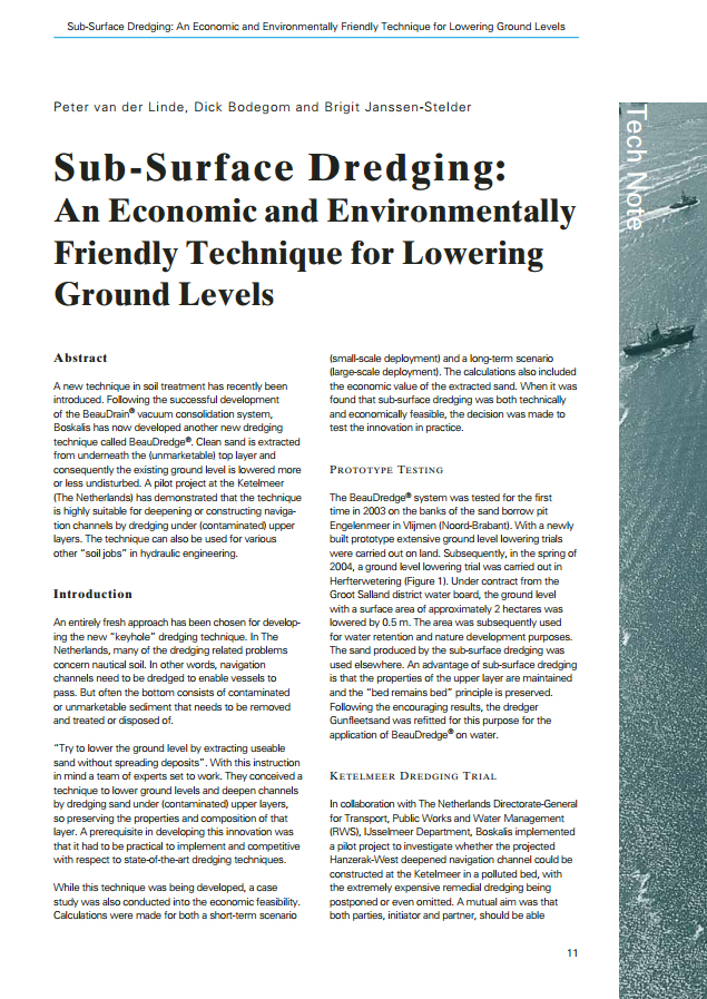 Sub-Surface Dredging: An Economic and Environmentally Friendly Technique for Lowering Ground Levels