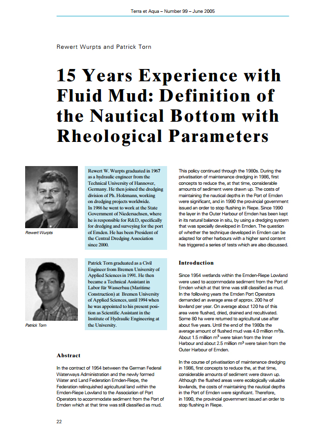15 Years Experience with Fluid Mud: Definition of the Nautical Bottom with Rheological Parameters