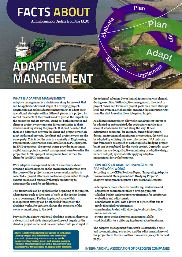 """Facts About Adaptive Management"" describes how monitoring at intervals during a project supports decision-making process to modify operations as needed."
