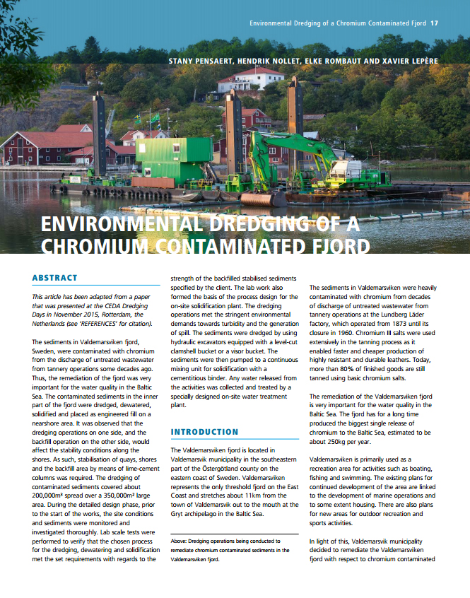 Environmental Dredging of a Chromium Contaminated Fjord