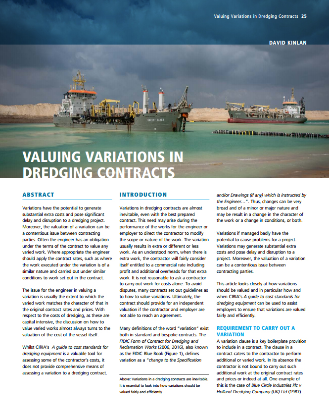 Valuing Variations In Dredging Contracts