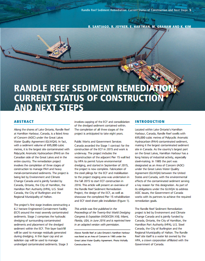 Randle Reef Sediment Remediation: Current Status of Construction and Next Steps